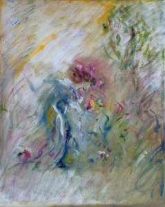 "woman gathering flowers (after Walter Crane)oil on canvas, 16"" x 20"""