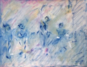 "ballet classoil on canvas, 11"" x 14"""