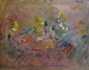 """an outspoken dinner party (after Vuillard)oil on canvas, 11"""" x 14'"""