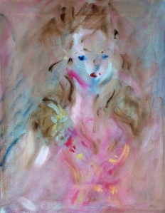 "woman in pink dress and silver and gold pinoil on canvas, 11"" x 14'"